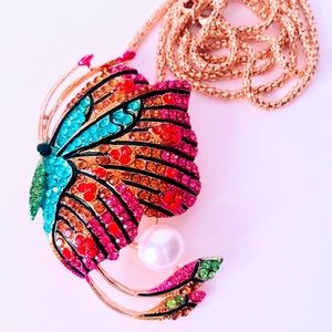 NEW! VIBRANT MULTICOLORED CRYSTAL BUTTERFLY